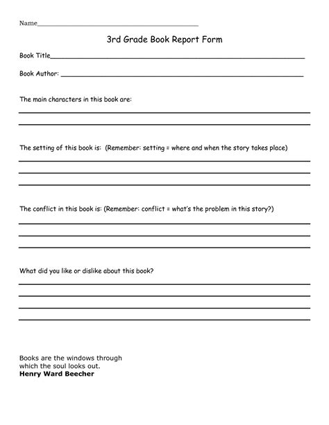book report 3rd grade template - Google Search | Home