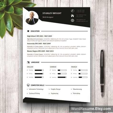 modern resume template with photo white background