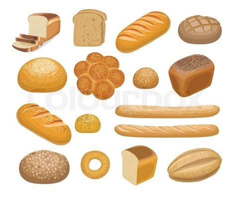 Bread, bakery products set in cartoon style isolated on