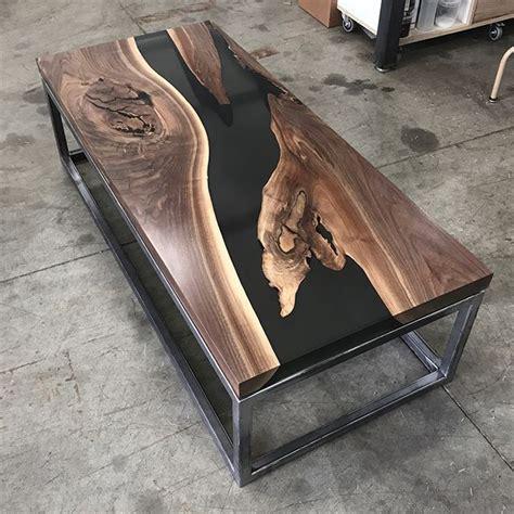 resin river table wood  black wood resin table