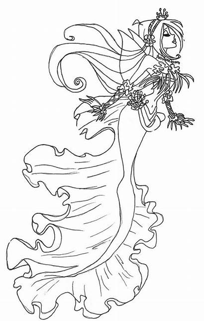 Coloring Fairy Gothic Pages Mermaid Fantasy Rocks