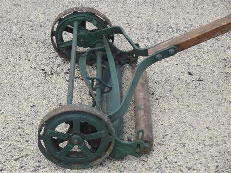 antique trojan manual push reel lawn mower wwi vintage