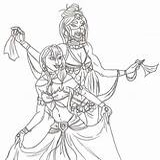 Belly Dancing Dance Coloring Sketch Lunara Deviantart Template Colouring sketch template