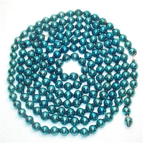 turquoise blue christmas mercury glass bead garland from