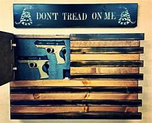 BLACK AND WOOD AMERICAN FLAG HOME DEFENSE CONCEALMENT WALL ART