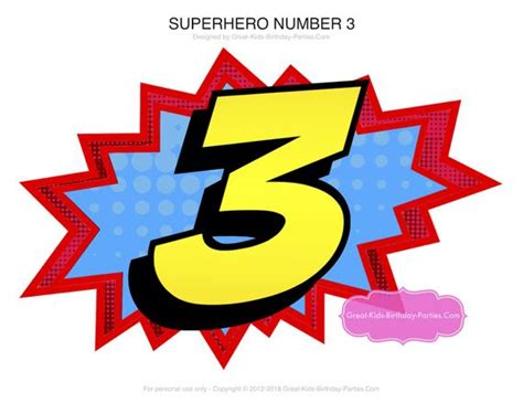 Superhero Number 3 Superhero Birthday Superhero