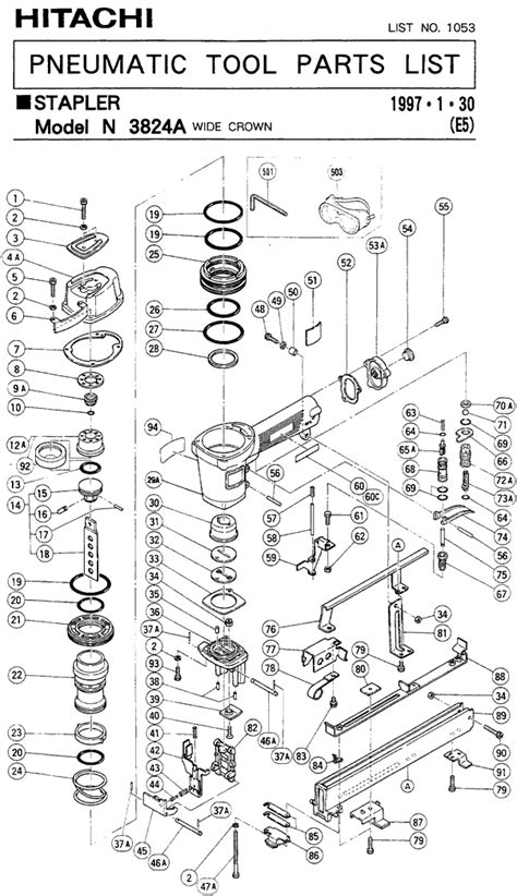 Hitachi N3824A Parts - Pneumatic Stapler