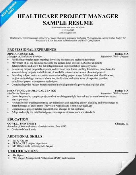 Healthcare Resume Tips by Healthcare Project Manager Resume Exle Http