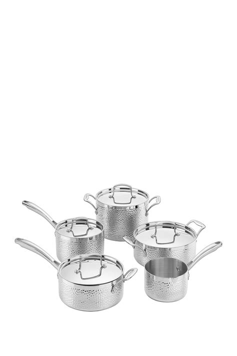 cuisinart  piece hammered copper tri ply stainless cookware set  images cookware set