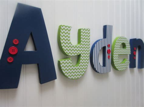 nursery name letters nursery letters baby boy wooden letters navy blue lime green
