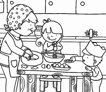 Coloring Kitchen Pages Cooking Mom Mother Drawing