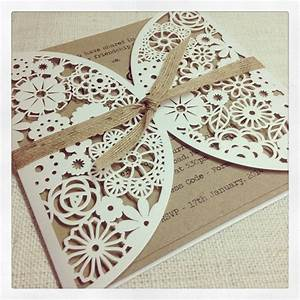 rustic floral lasercut wedding invitation simply With laser cut wedding invitations with photo
