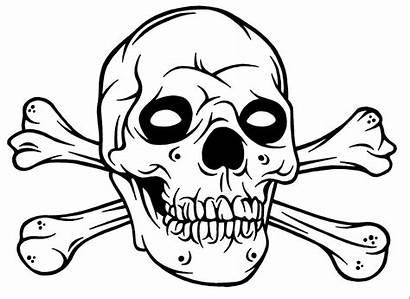 Skull Coloring Pages Crossbones Skulls Bones Halloween