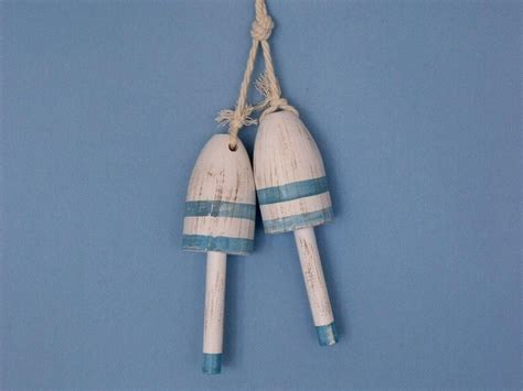 wooden light blue maine lobster trap buoy 7 quot set of 2