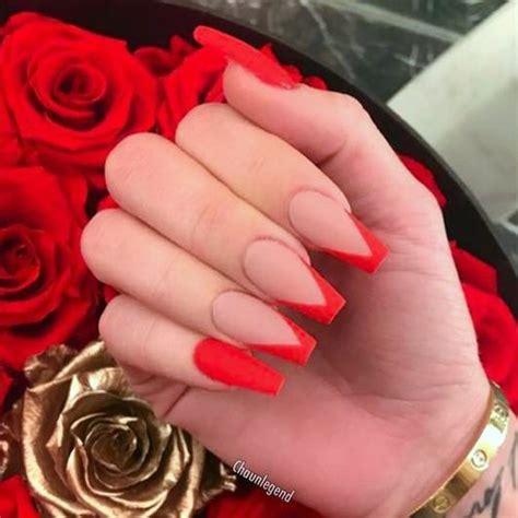 Khloe Kardashian Nude, Red Geometric, Nail Art Nails ...