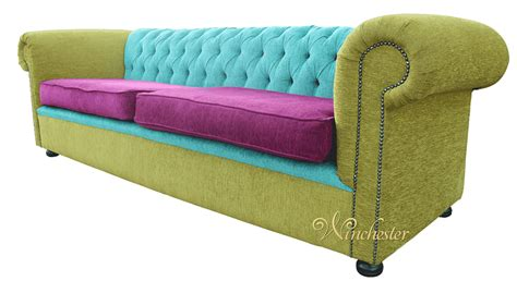 Funky Settees by Chesterfield 4 Seater Settee Sofa Bespoke Fabric Lime