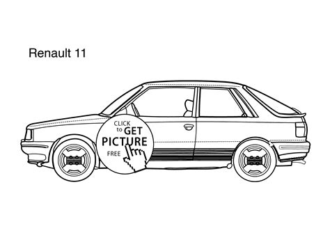 Super Car Renault 11 Coloring Page For Kids, Printable