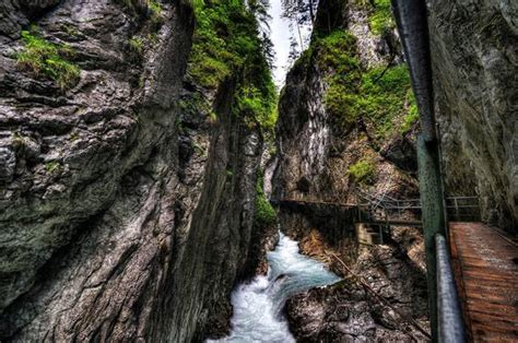 Tourist Walk To Leutasch Gorge In Bavaria Germany