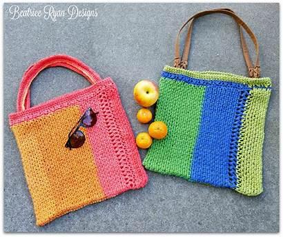 Bag Tote Summer Crochet Stripe Pattern Patterns