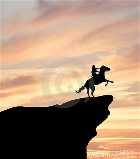 horse rider  cliff silhouette stock image image