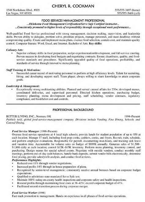 cuisine am駭ager sle resume for food service supervisor