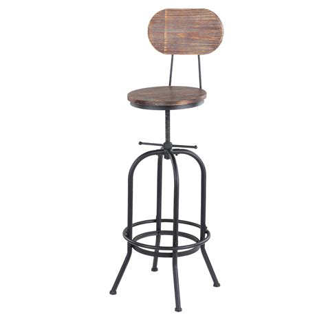 chaise style industriel wood ikayaa bar stool height adjustable swivel kitchen