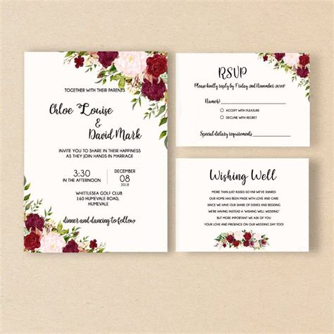 Elegant Wedding Invitation Flower Invitation Cards Rose