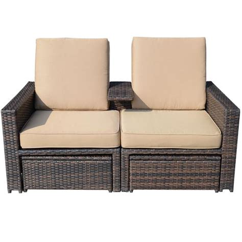 3 outdoor wicker patio seat lounge chair set
