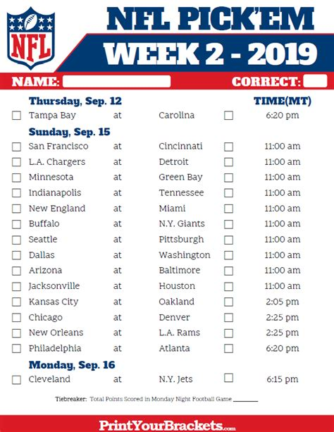 mountain time week  nfl schedule  printable