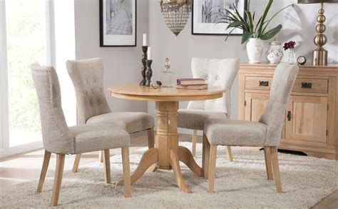 kingston  oak dining room table   bewley fabric