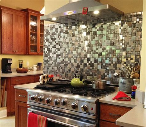 stainless steel kitchen backsplash tiles stainless steel backsplash a metal mosaic wall tile shop 8240