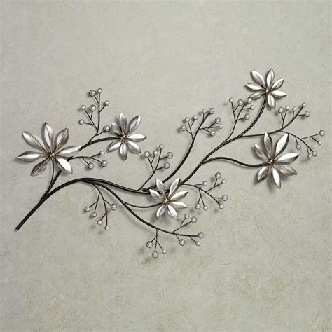 silver metal wall flowers takuice