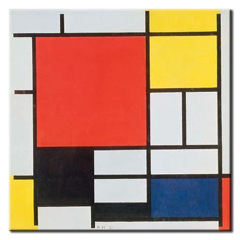 blau und rot ergibt piet mondrian bilder komposition mit rot gelb blau und schwarz leinwandbild oder poster in