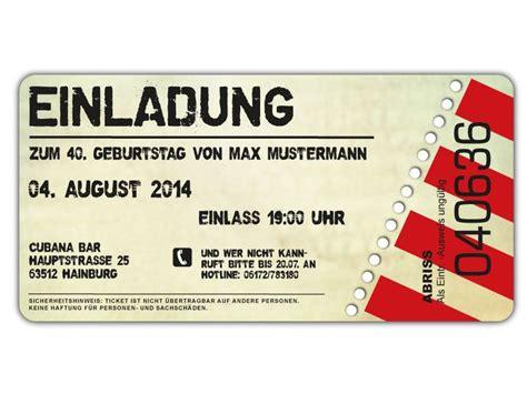 einladung zum geburtstag als eintrittskarte ticket art
