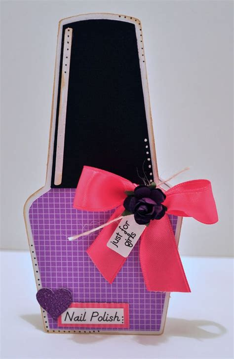 cutting cafe nail polish shaped card invite set