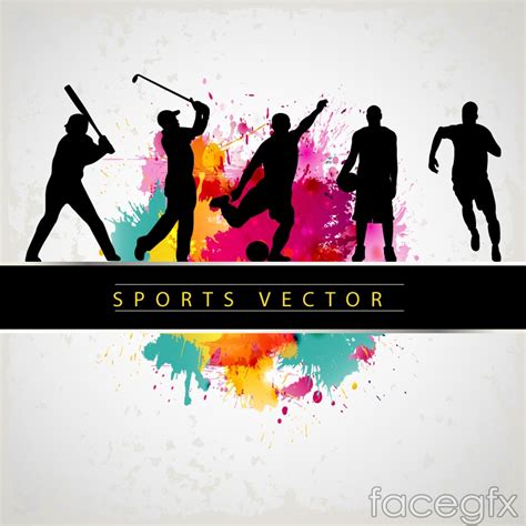 sports people silhouette vector background