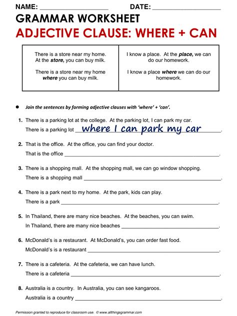 worksheets adjective clauses worksheet exle
