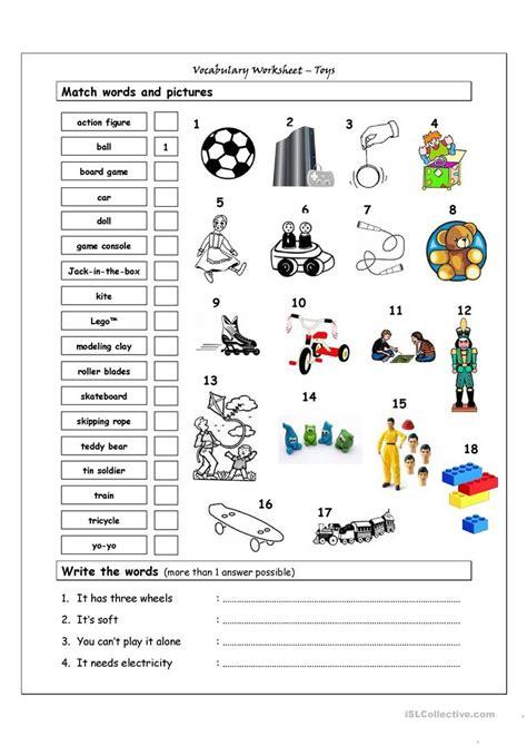 vocabulary matching worksheet toys worksheet  esl
