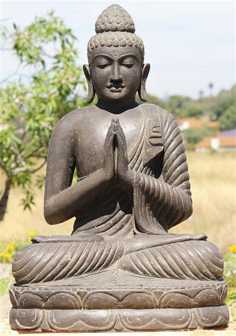 SOLD Stone Seated Namaste Buddha Statue 36