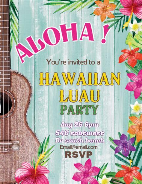 aloha hawaiian luau flyer template postermywall