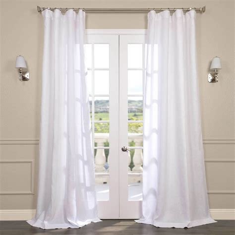 White Drapery by Signature Linen Sheer Curtains In Purity White