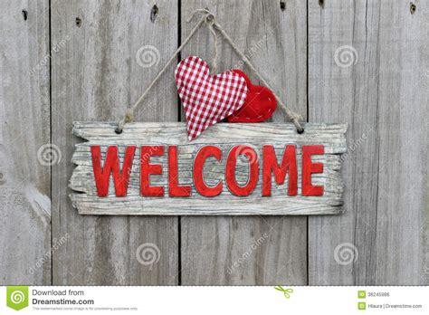 welcome signs for door welcome sign hanging on wood door with gingham