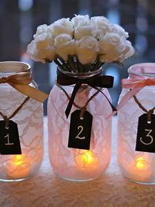 Things, Brides, Love, Mason, Jar, Wedding, Reception, Decor, Centerpieces, Lace, With, Chalkboard, Tags