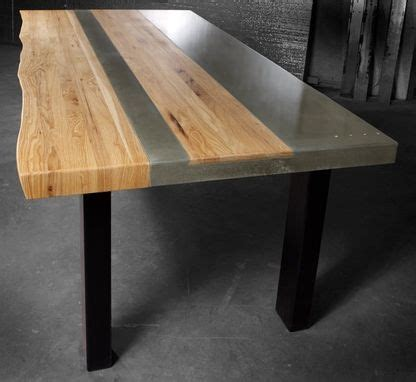 hand  concrete wood steel dining kitchen table