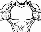 Chest Superhero Coloring Coloringcrew Heroes sketch template