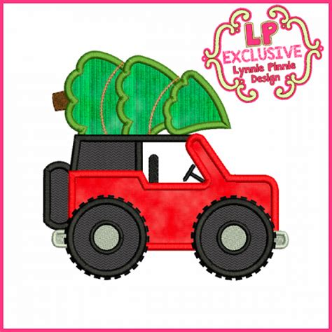 christmas tree jeep christmas tree jeep applique embroidery design 4x4 5x7