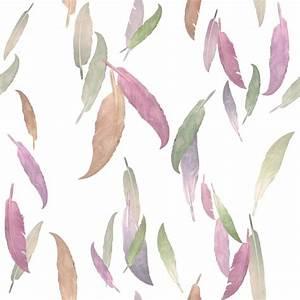 Feather Wallpaper in Mauve by Brett Design - Contemporary