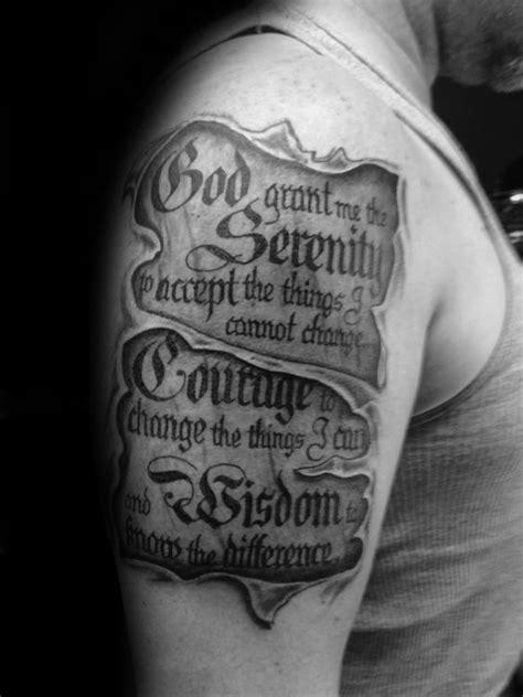 Ripped Skin Serenity Prayer Scroll Guy Upper Arm Tattoos   Scripture tattoos, Prayer tattoo