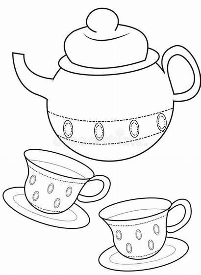 Coloring Teacup Useful Illustration