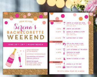 Bachelorette Weekend Itinerary By Oohlalovely On Etsy 22 New Orleans Weekend Bachelorette Invitations Bachelorette